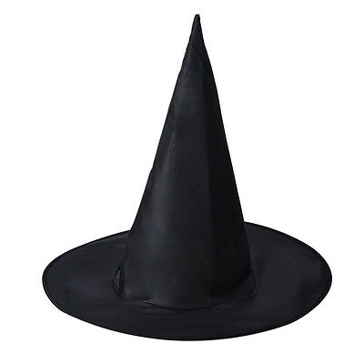 Halloween Peaked Cap Womens Black Witch Hat For Halloween Costume Accessory DIY
