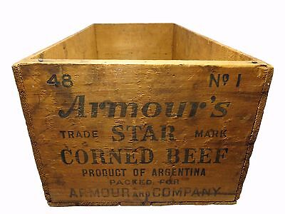 Vintage 'armour's Trade Star Mark' Corned Beef Wooden Crate Argentina, 1930-40's