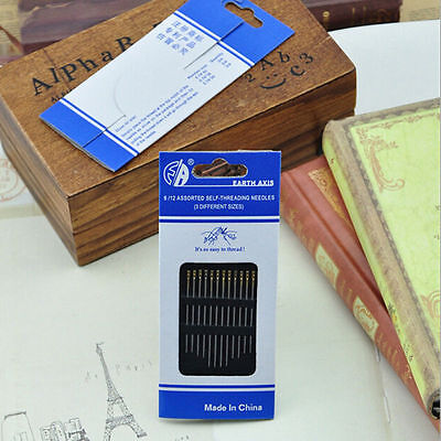 Easy To Use 12 Piece Self Threading Assorted Sewing Needles,in 3 Different Sizes