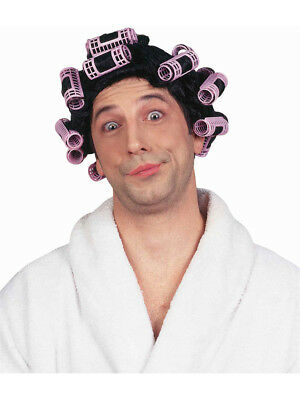 Womens or Mens Black Old Lady Funny Hair In Curlers Costume Wig