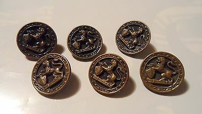 Antique / Vintage Metal Buttons Set Of Six 6 , British ? Lion And Shield , Nice