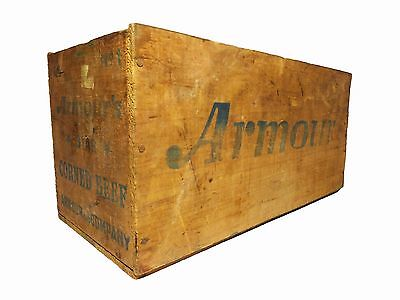 Vintage 'armour's Star Corned Beef' Wooden Crate (Brazil) W/blue Ink Graphics