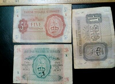3 piece lot -  WWII - BRITISH MILITARY AUTHORITY 1 & 5 Schilling, 2s 6pence