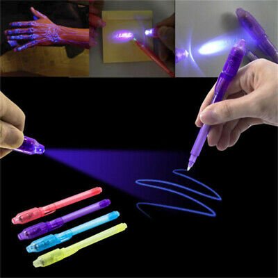 3x Unsichtbare Tinte Spy Pen Errichtet in UV Licht Marker Secret Message Gadget