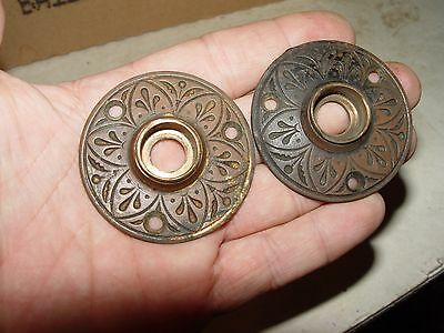 Estate Antique Victorian Eastlake Brass Door Knob Keyhole Cover Plates Hardware