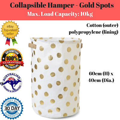 Kids Storage Hamper Collapsible with Handles Laundry Basket Toy Box GOLD SPOTS