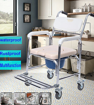 Aluminum Mobile Shower Commode Chair Bedside Bathroom Toilet Chair Wheelchair