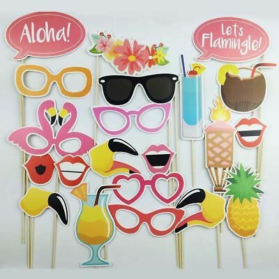 21PCS LOT Photo Booth Props Flamingo Tropical Hawaiian Wedding Party Supplies AU
