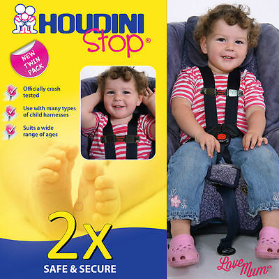 Houdini Stop Car Seat Safety Harness Chest Strap - TWIN PACK