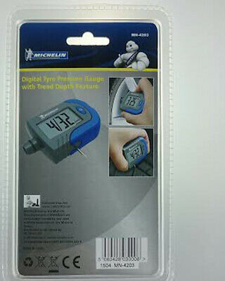 Michelin Digital Tyre Tire Pressure Gauge With Tread Depth Indicator MN4203