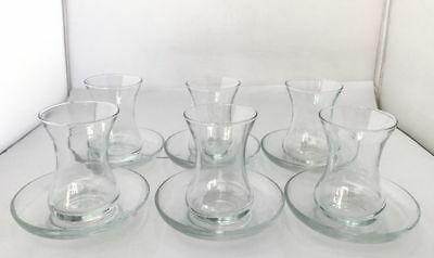 New 12 Pieces Traditional Clear Glass Turkish Tea Cup Set with Sauce 125ml