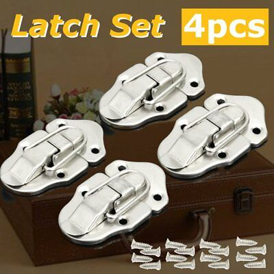 4Pcs Steel Guitar Instrument Case Set for Latches Box Buckles + 16 Screws