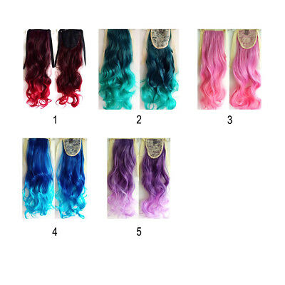 Curly Ombre Drawstring Ponytail Extensions Dyeing Gradient Fake Hair Ponytail