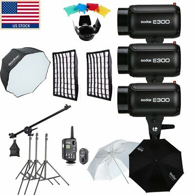 900W 3x Godox E300 Photo Studio Strobe Flash light+ Softbox+ Case+Filter+Trigger