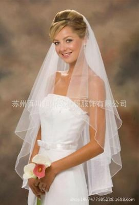 White Ivory 2 Layers Wedding Bridal Veil  with Comb 1.5 Meters Soft Tulle Veil