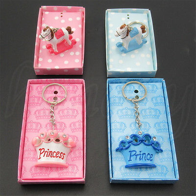1pcs Horse Princess Crown Charm Key Chain Keyring Baby Shower Party Gift