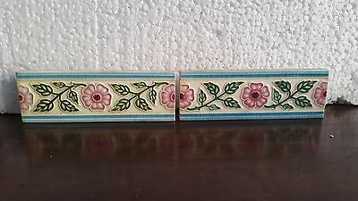 RARE OLD ANTIQUE 2 pc  ART NOUVAEU MAJOLICA TILE MADE IN JAPAN (marked)