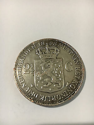 1898 Netherlands 2 1/2 Gulden Crown Wilhelmina Coin