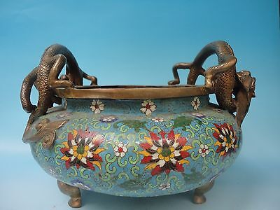 Collection Chinese Ancient Cloisonne Dragon Incense Burner Decoration 12 inches