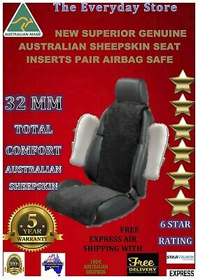 Sheepskin (Lambswool) Custom Inserts Car Seat Covers Pair 30Mm Airbag Compatible