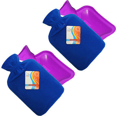Sure Thermal Winter Home Office Hot Water Bottle + Fleece Cover Twin Pack, Blue