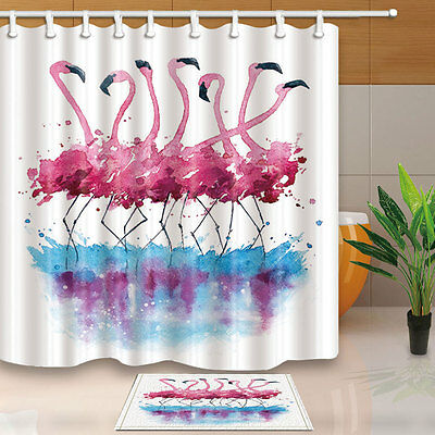 Flamingo And Bird Print Shower Curtain Bedroom Waterproof Fabric 12Hooks New