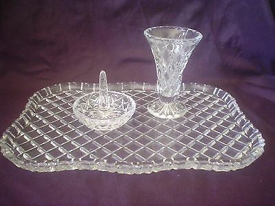 Dressing Table Vanity Diamond Cut Glass Tray & Vase & Ring Holder