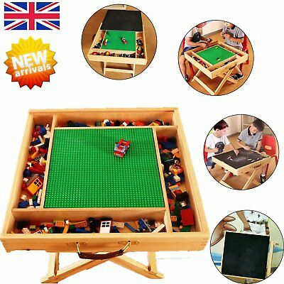 Kids Lego Table with Portable Folding Storage Play Wood Chalkboard for Children