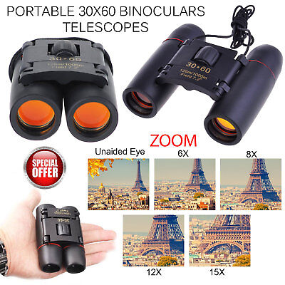 Day Vision 30 x 60 Zoom Outdoor Travel Folding Binoculars Telescope + Carry Bag
