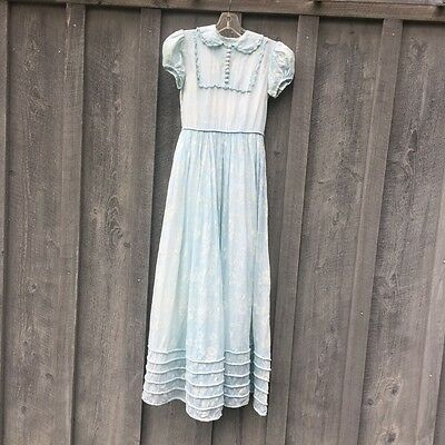 Vintage 1920's 1930's Girl's Beautiful Blue Long Party Dress Cotton