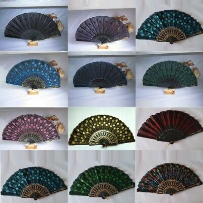 AU Embroidered Peacock Tail Folding Sequins Hand Held Fan Wedding Party Decor