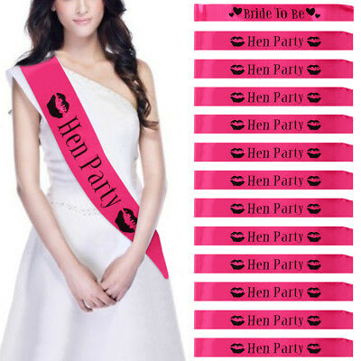 Hen Party Sashes Girls Night Out Accessory Pink Wedding Sash Pack of 13