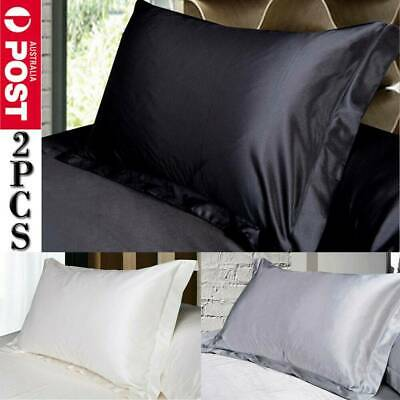 2PCS Satin Luxury Silk Pillow Cases Cushion Covers Housewife Grey Black