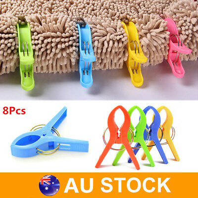 8 Pcs Large Grips Bright Colour Plastic Beach Towel Pegs Clips to Sunbed