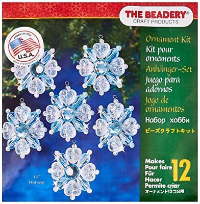 Beadery Plastic Holiday Beaded Ornament Kit Filigree Snowflakes 1.75-inch Makes
