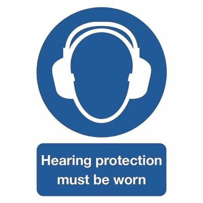 Safety Sign Hearing Protection Must be Worn A4 PVC MA01950R  [SR11234]