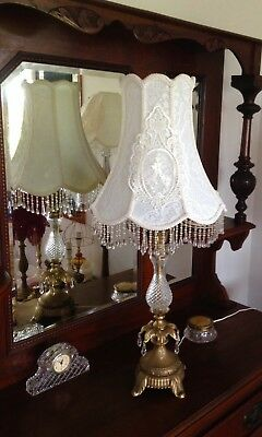 STUNNING ROMANTIC VINTAGE TABLE LAMP hand crafted new shade