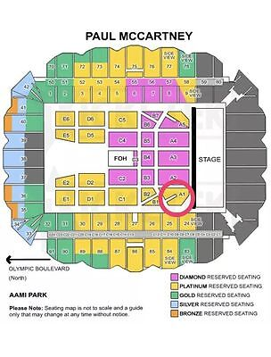Paul McCartney Melbourne 3 Platinum side by side A1 row M