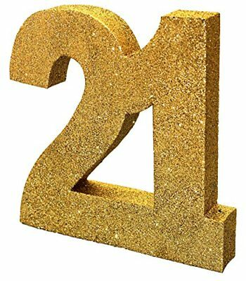 Gold Glitter Number Table Decoration '21'