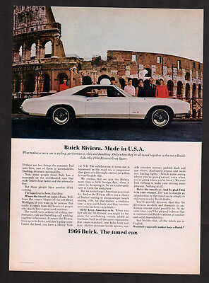 1966 BUICK Riviera Gran Sport Vintage Original Print AD white muscle car photo