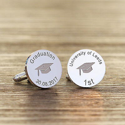 Personalised Silver Plated Engraved Graduation Cap Design Cufflinks Cuff Links