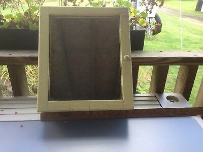 Old Wood Medicine Cabinet With Mirror, Shabby Paint , Approx 12.5x14.5x4.5