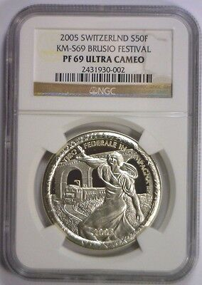 2005 Silver 50 Francs SWITZERLAND Swiss Shooting Brusio Festival NGC PF 69 UCAM