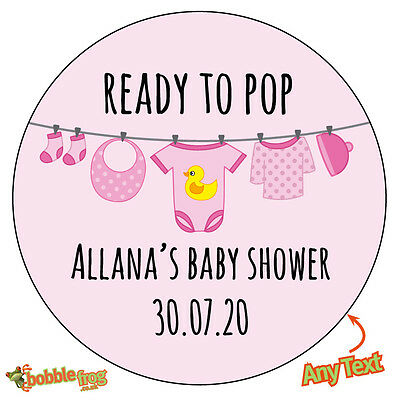 48 x READY TO POP Baby Shower Personalised Stickers Pregnant Party Bag gift 515