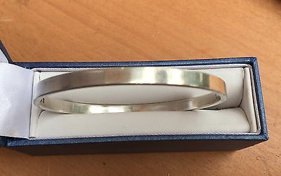 Solid Sterling Silver 925 Hinged plain Bangle Bracelet with hinge