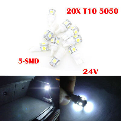 20X T10 5-SMD 5050 24V White Car led light Side Wedge Bulb Reading light