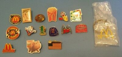 VINTAGE Lot of 15 McDonalds Employee Hat Lapel Pins & Key Chain Good Condition