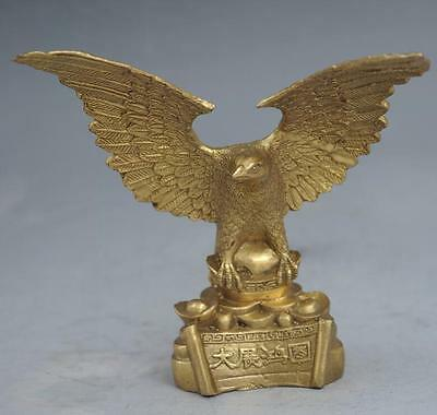 Old Chinese brass hand-carved fine fengshui lucky flying eagle statue