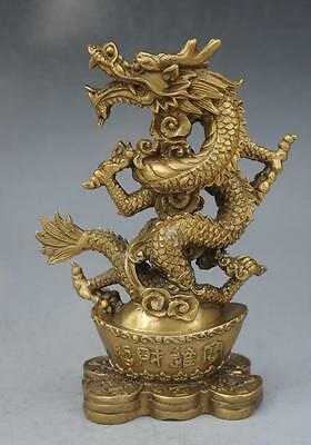 Chinese antique brass hand engraving copper Dragon wing statue