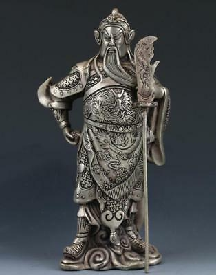 Chinese Miao Silver Handwork Carved Statue ---- Guan Gong